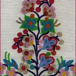 Seed beads in floral pattern on heavily beaded background.