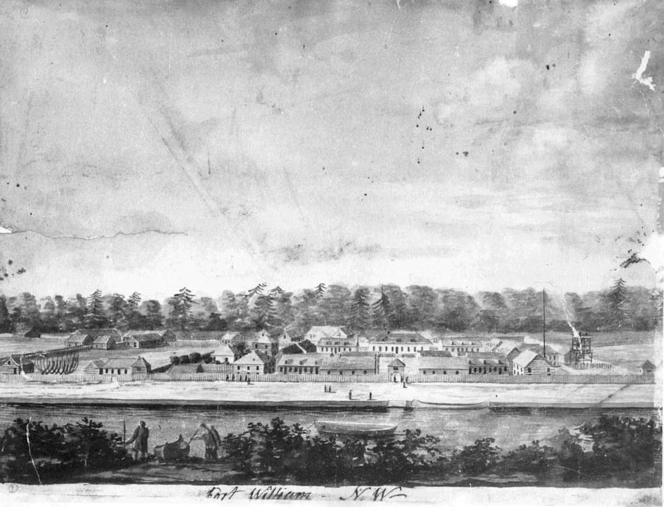 A sketch of Old Fort William as it would have looked like during the fur trade. TBHMS 975.100.63