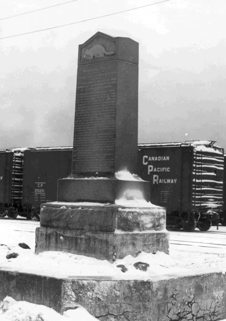 The monument that stands today at the foot of McTavish Street in commemoration of the location of the old fort was unveiled in 1916 by Peter McKellar and the Thunder Bay Historical Museum Society, which he founded. TBHMS 977.113.457