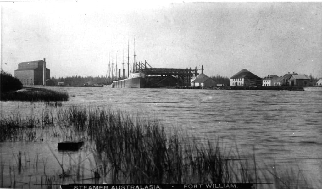 Remnants of the Hudson's Bay Company buildings near the CPR's coal dock in the late 1880's. The last building would be torn down to make room for more CPR facilities in 1902. TBHMS 992.51.3